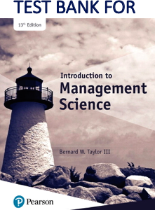 Test Bank for Introduction to Management Science