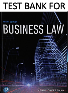 Test Bank for Business Law 10th Edition by Henry R. Cheeseman