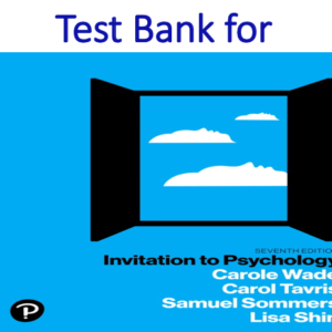 Test Bank for Invitation to Psychology 7th Edition