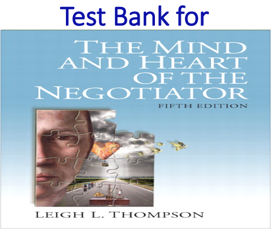 Test Bank for The Mind and Heart of the Negotiator 5th Edition